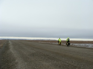 The author and Hal riding along the Dalton Hwy.