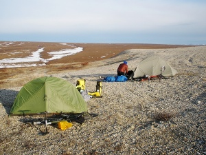 Camping above the Arctic Circle.