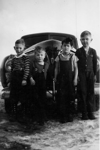 Gil, second from left, as a young boy in Wasilla with a few of his friends.