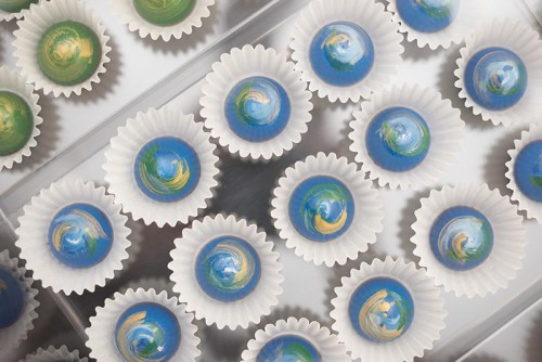 Ingrid's chocolate bon bons are inspired by the aurora borealis.