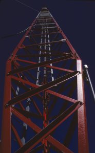 The tall radio tower in Bethel that held base station antennas serving VHF radiophones in nearby villages.