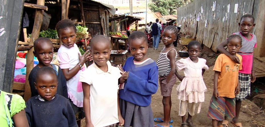 Children gather in the streets of Kibera, outside of Nairobi.