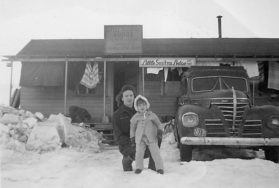 Edith with Carole in front of the Little Susitna Lodge