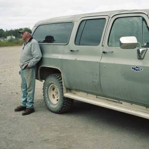Larry Heilman awaits guests at the Beluga Landing Strip. Credit: Sara Quinn