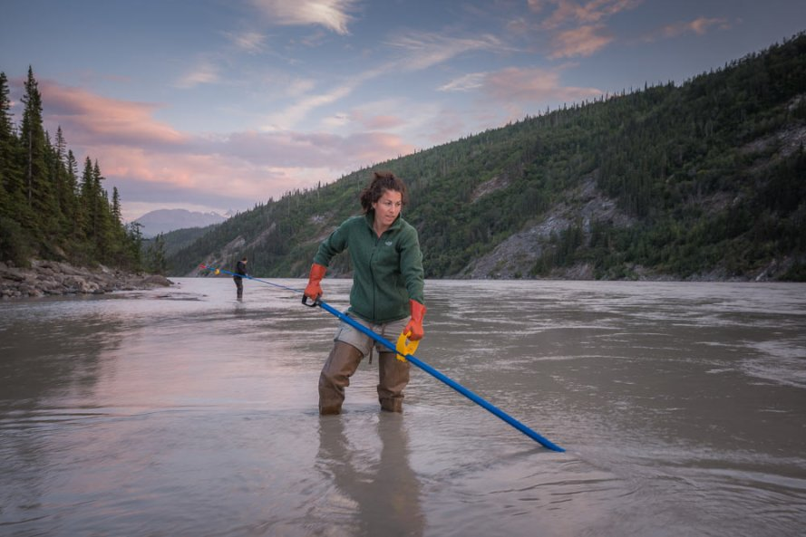 Anne dipping for reds on the Copper River.