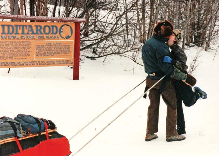 Denis beginning his journey on the Iditarod Trail.