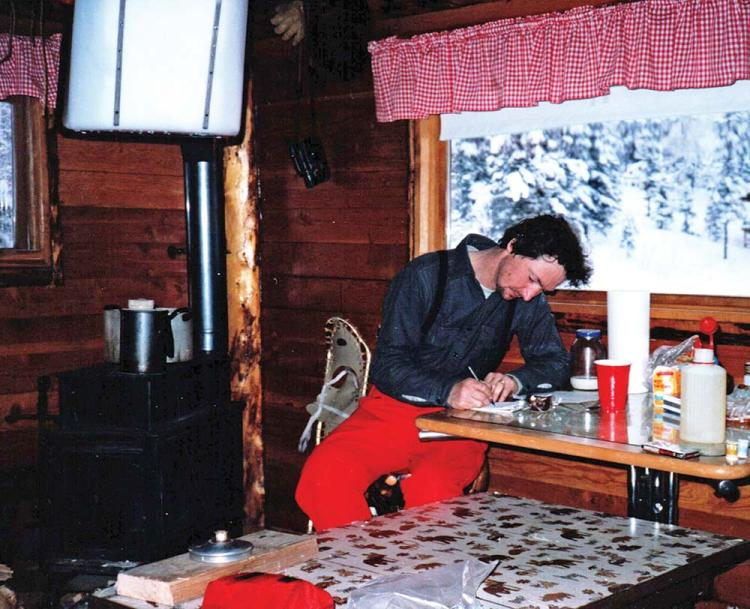 a photo of Denis Douglas regrouping at Farewell Lake Lodge